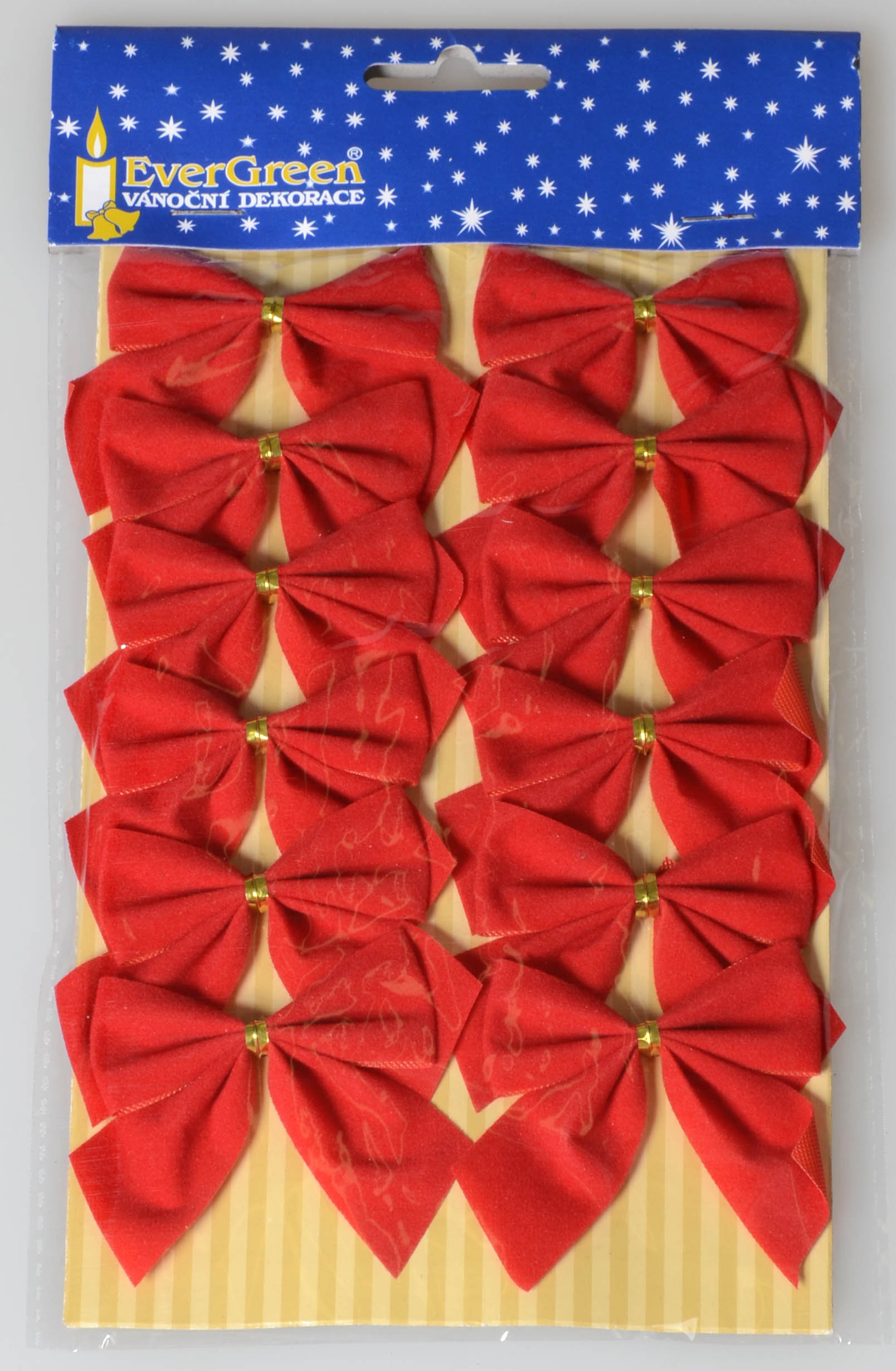 60-19 mašle červené sametové 12 ks 5,5x5,5 cm