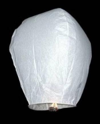 Létající lampion štěstí bílý